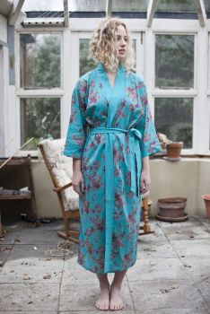 Long Kimono Dressing Gown Vintage Rose - Aquamarine