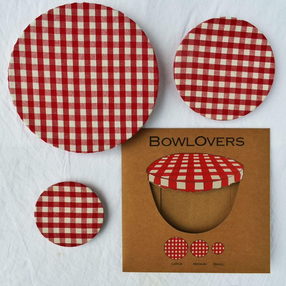 Cotton Bowl Covers Assorted Set of 3 - Red Gingham
