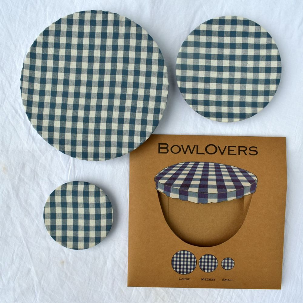 Cotton Bowl Covers Set of 3 - Blue Gingham