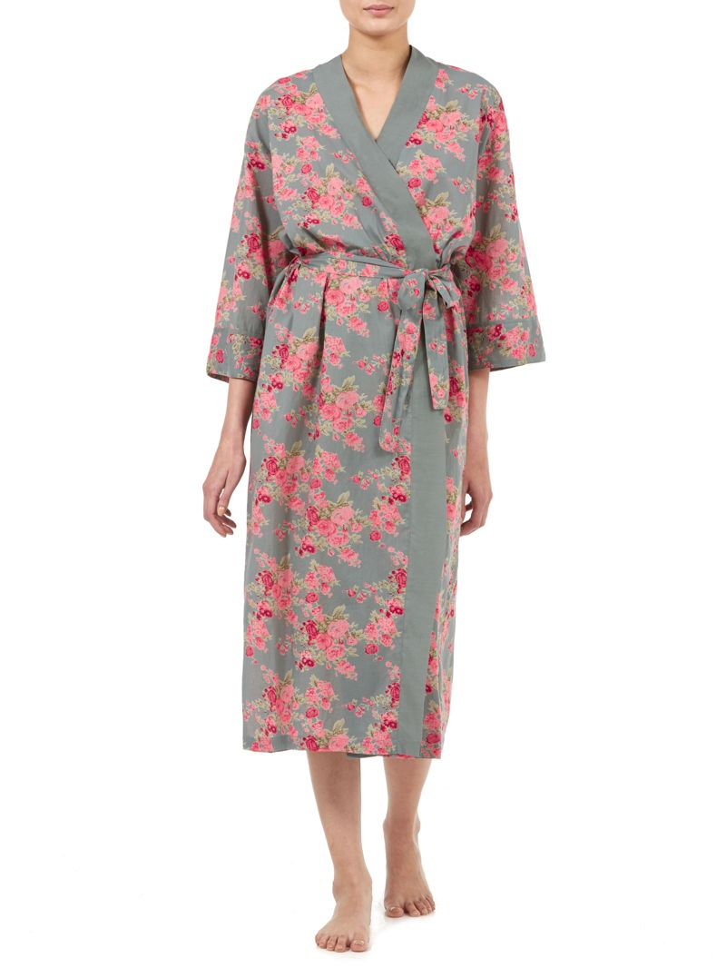 Long Kimono Dressing Gown - Green Floral Cotton Gown