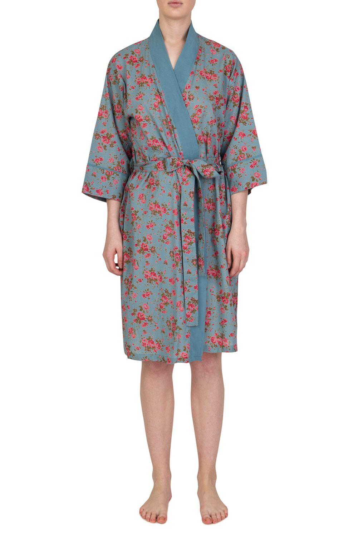 100% Cotton Kimono Dressing Gown | Blue Floral