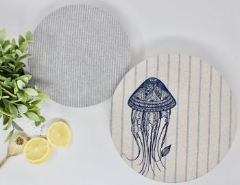 Set of Two Organic Cotton Bowl Covers - Jellyfish Stripes