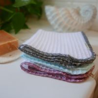 Organic Cotton Waffle Cloth - Blue, Pink or Grey Edging