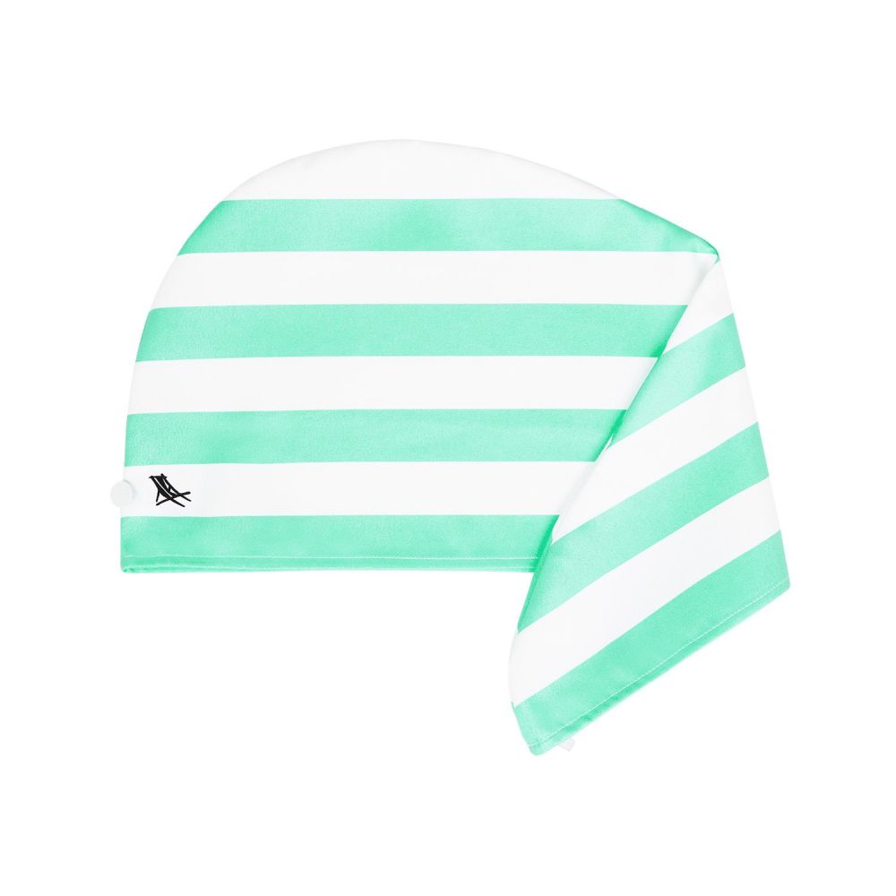 Hair Wrap Towel Stripe Green | Dock & Bay