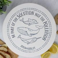 Large Organic Cotton Bowl Cover - Navy Whale