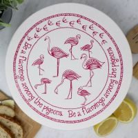 Large Organic Cotton Bowl Cover - Pink Flamingo