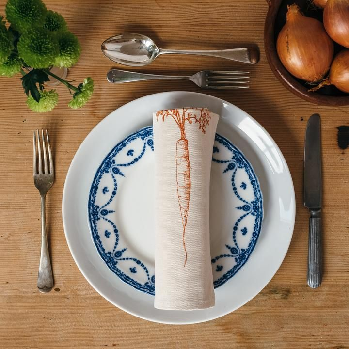 Cotton Napkin Pair - Carrot & Onion
