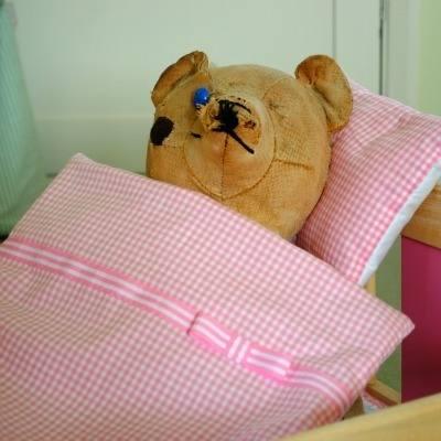 Handmade Pink Gingham Small Duvet Pillow Set For Girls