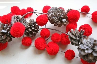 Red Pompom Garland by Pompoms Galore