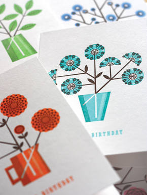 Letterpress Geometric Flower Cards from Mac & Ninny