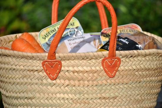 Wicker Shopping Basket - Orange Handle