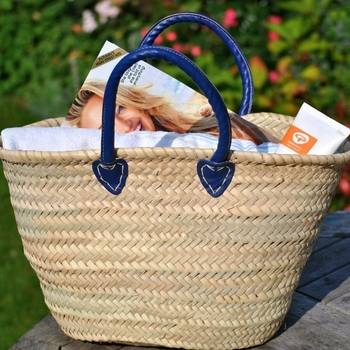 Wicker Shopping Basket Blue Handle