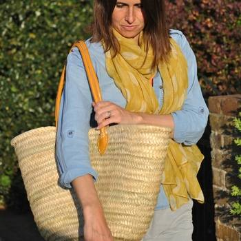 Wicker Shopping Basket Long Yellow Handle