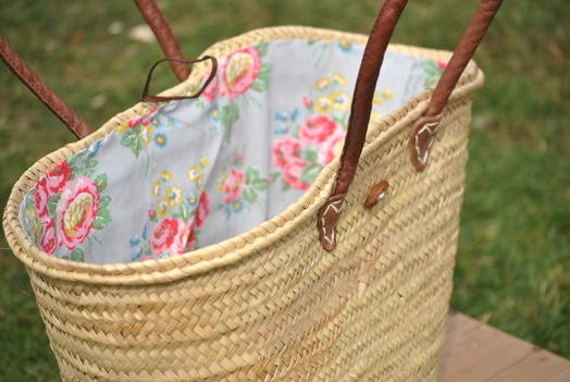 Long Handled Shopping Basket Floral Lined