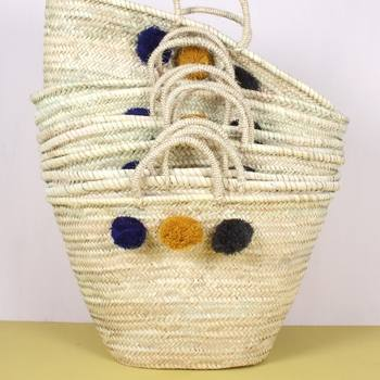 Bohemia Shopping Wicker Basket Pom Pom Grey