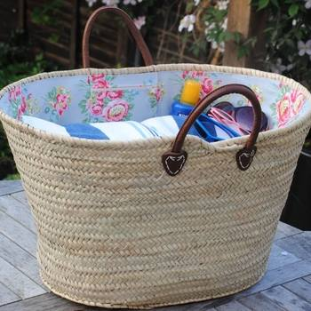 Large Lined Picnic Wicker Basket