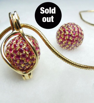 SOLD!! - Rubis pavé 18ct. - Ruby 18ct.