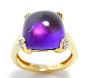 ring Amethyst met diamant in geelgoud