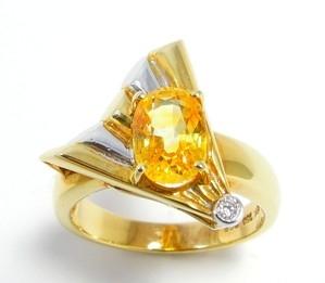 ring gele Saffier met diamant in geel/wit goud