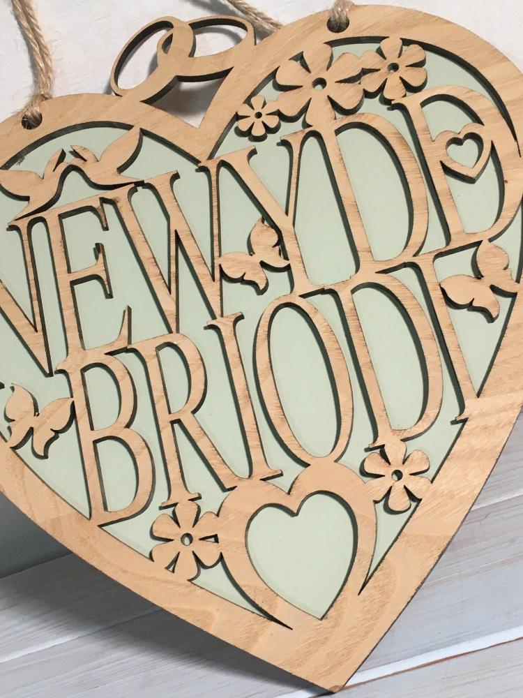 Calon Fawr Newydd Briodi (Newly Weds) Hanging Heart