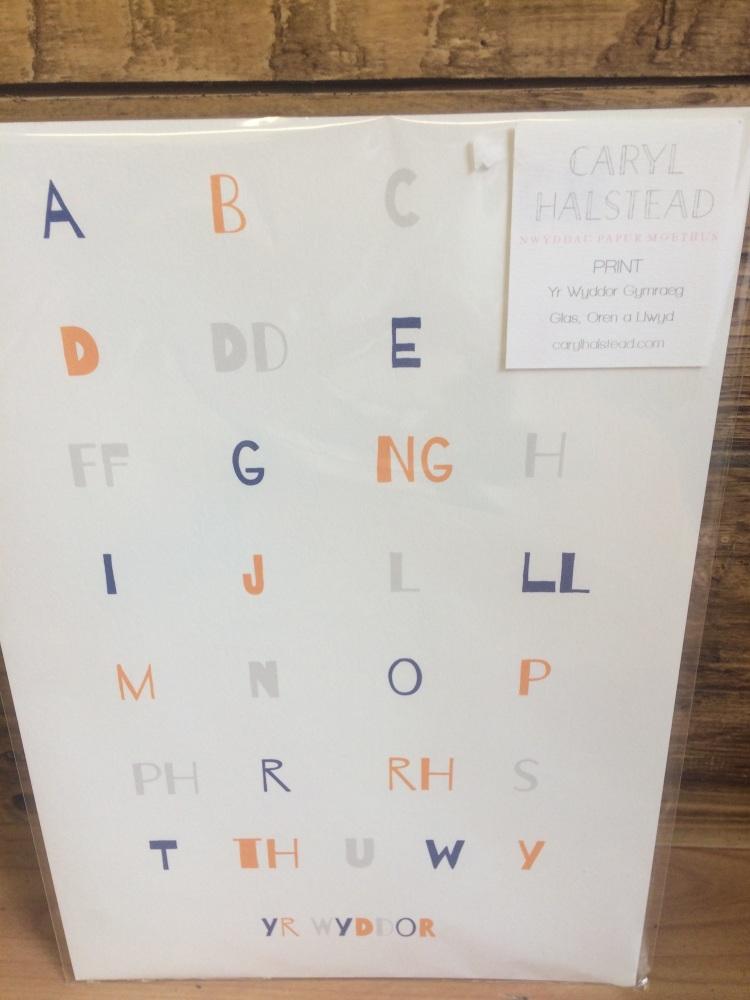 Print yr wyddor glas/oren Alphabet print