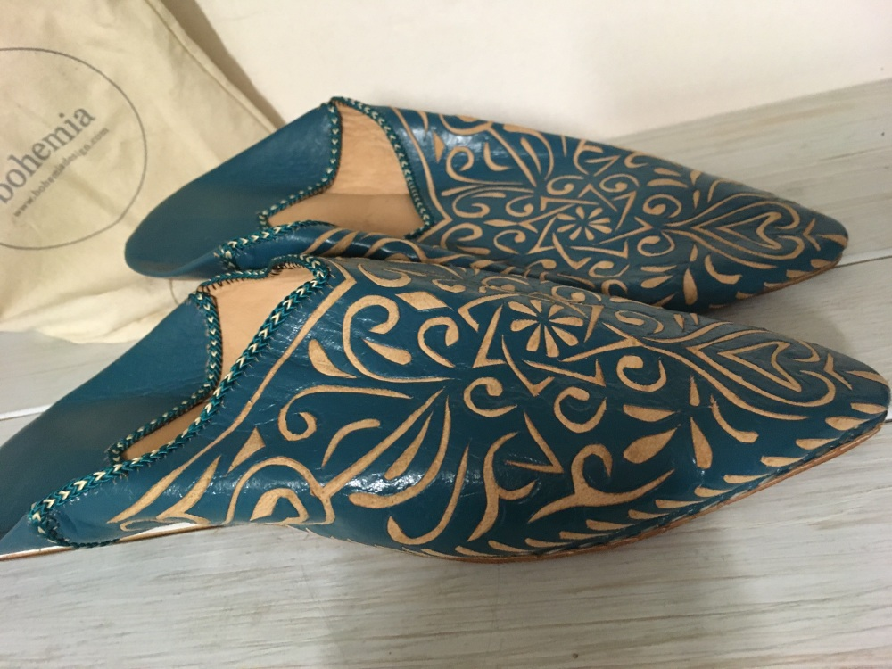 Leather Sliders / Slippers - Turquoise
