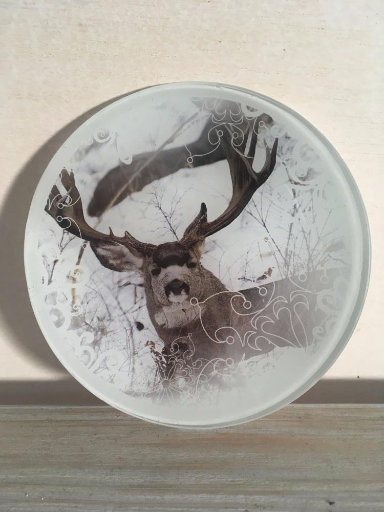 Plât Gwydr Carw - Reindeer Glass Plate