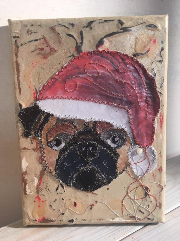 Small Canvas - Christmas Pug