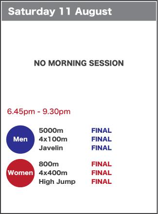 Saturday 11 August schedule