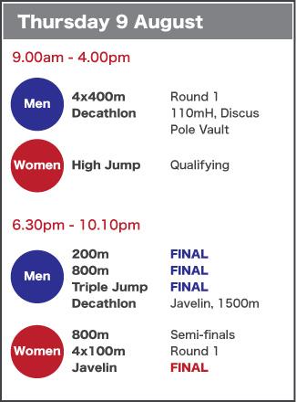 Thursday 9 August schedule