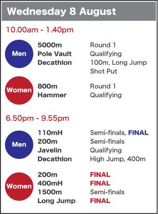 Wednesday 8 August schedule