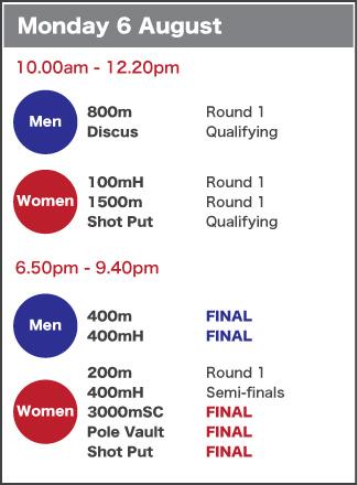 Monday 6 August schedule