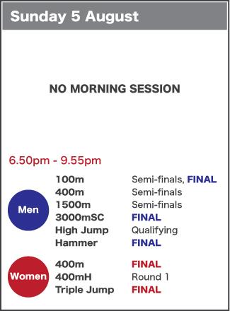 Sunday 5 August schedule