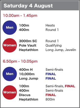 Saturday 4 August schedule