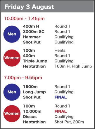 Friday 3 August schedule