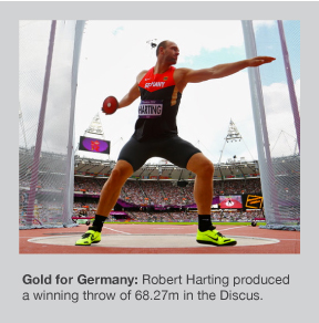 Robert Harting takes gold for Germany in the Discus