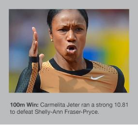 Carmelita Jeter storms to victory in Birmingham
