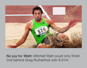 Mitchell Watt is defeated by Greg Rutherford in Melbourne