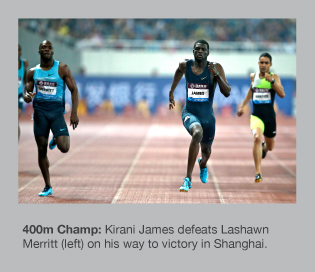 Kirani James gets the better of Lashawn Merritt