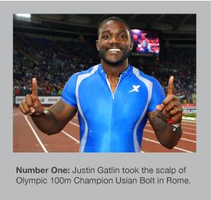 Justin Gatlin takes victory in Rome