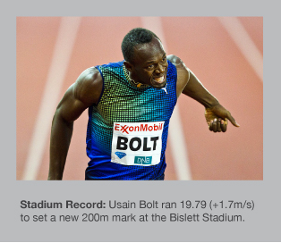 Usain Bolt sets a new stadium record