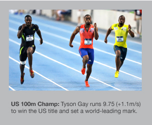 Tyson Gay is the US Champion over 100m