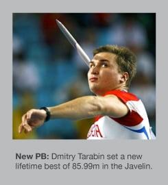 Dmitry Tarabin won the Javelin with a PB