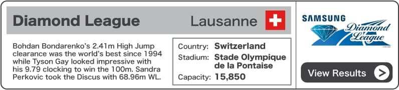 2013 Diamond League Lausanne - Results