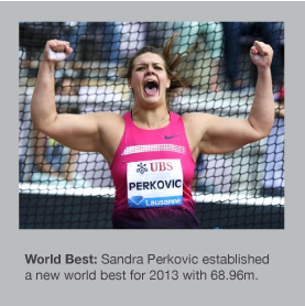 Sandra Perkovic threw 68.96m in Lausanne