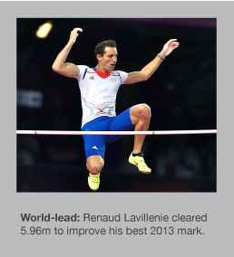 Renaud Lavillenie sailed over 5.96m in Monaco