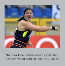 Valerie Adams went out to 20.90m in London