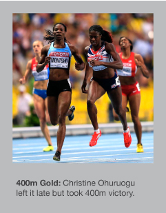 Christine Ohuruogu won the 400m in a tight finish