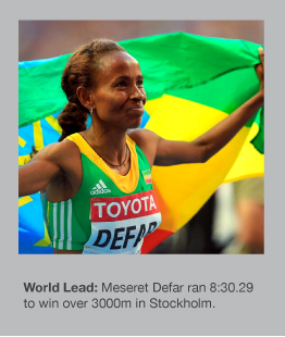Meseret Defar set a new world-leading 3000m time