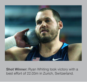 Ryan Whiting won the Shot Put in Zurich